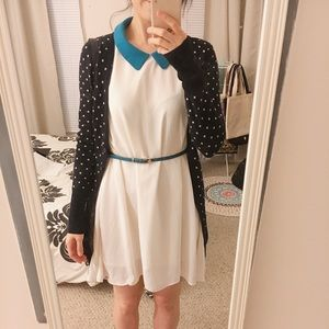 Sleveless Point Collar Chiffon Dress